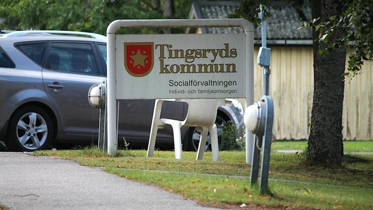 Tingsryds kommun, Tingsryd, Socialförvaltningen, soc, ingång, skylt