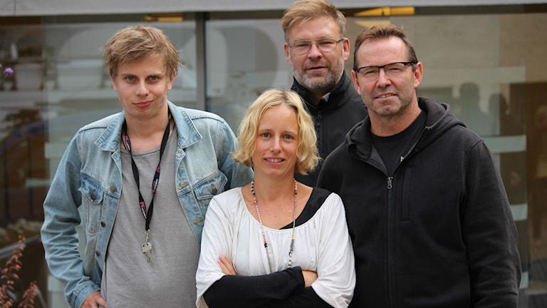 Sporten P4 Kronoberg Jonatan Bergman, Anna Tigerström, Peter Sundh och Mike Zanier. Foto: Emma Kvennberg/Sveriges Radio