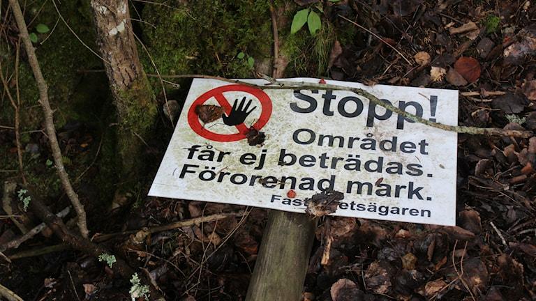 Vem plockar ner varningsskyltarna vid glasbruken i Uppvidinge? Foto: Karin Ernstsson/Sveriges Radio