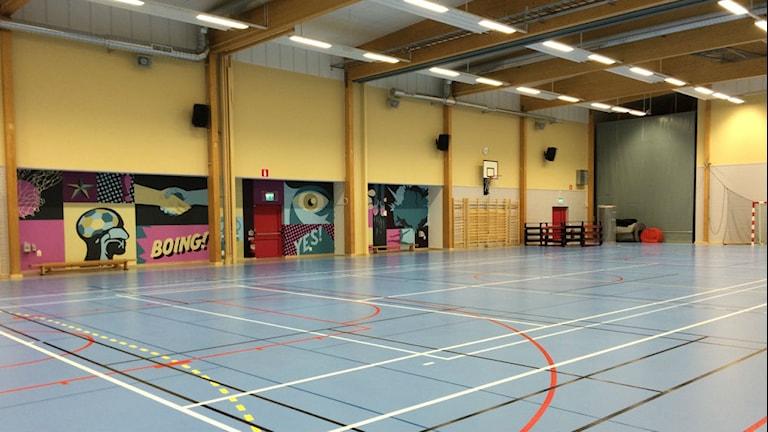 Den nya idrottshallen i Braås. Foto: Carina Bergqvist/ Sveriges Radio