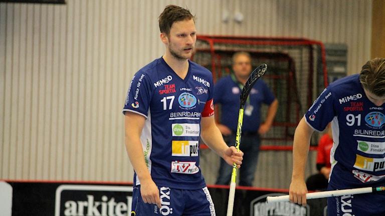 Filip Kjellsson i Växjö IBK (Vipers) i Fortnox arena. Foto: Anna Tigerström/Sveriges Radio