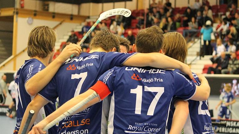 Växjö IBK (Vipers) firar mål mot Granlo. Foto: Anna Tigerström/Sveriges Radio