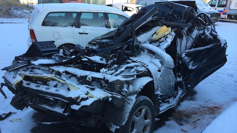 Robin Själanders bil efter kollisionen. Foto: Privat