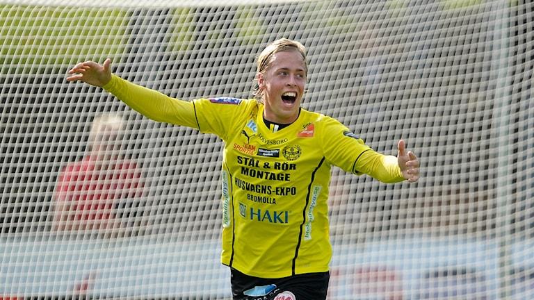 Robin Strömberg i Mjällby-tröjan. Foto: Björn Lindgren/TT