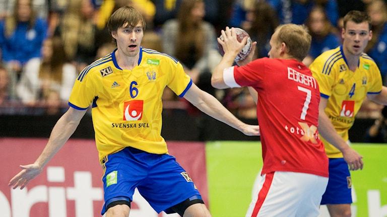 Handbollsspelaren Jonas Källman i det svenska landslaget. Foto: Andreas Hillergren/TT