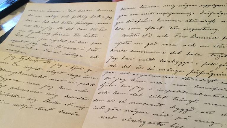 Brevet skrivet av Selma Lagerlöf. Foto: Lars-Peter Hielle/Sveriges Radio