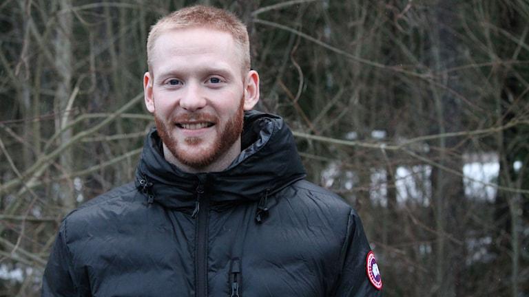 Liam Reddox, hockeyspelare i Växjö Lakers. Foto: Jonatan Bergman/Sveriges Radio