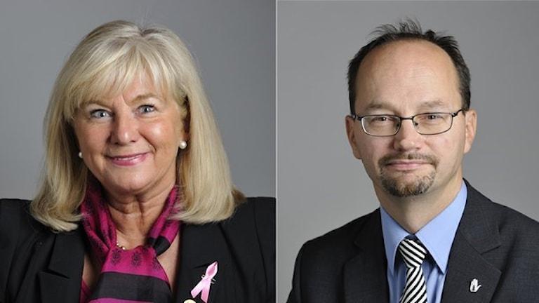 Katarina Brännström (M) och Thomas Eneroth (S). Foto: TT