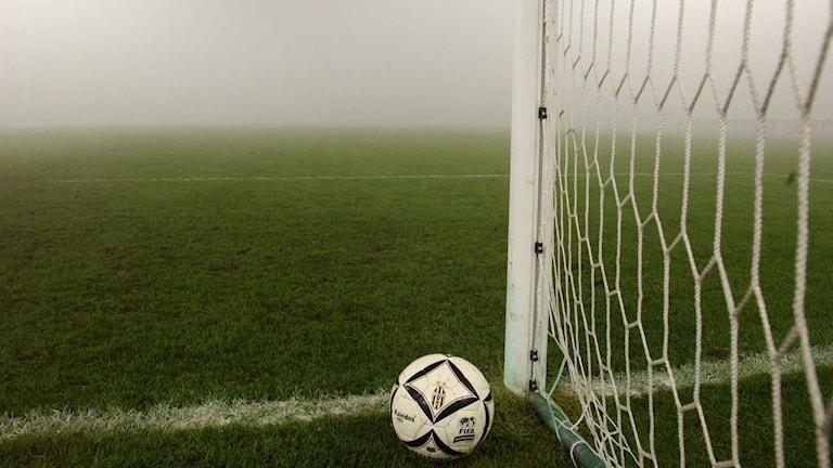 Fotboll och fotbollsmål.