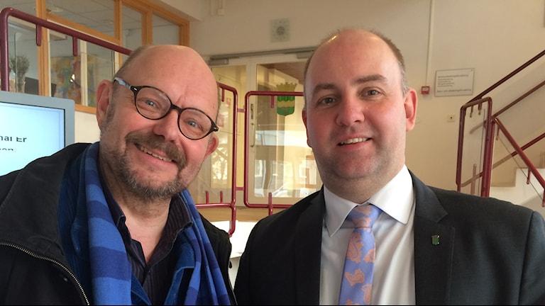 Björn Gullander, Vänsterpartiet och Magnus Gunnarsson, Moderaterna. Foto: Lars-Peter Hielle/ Sveriges Radio