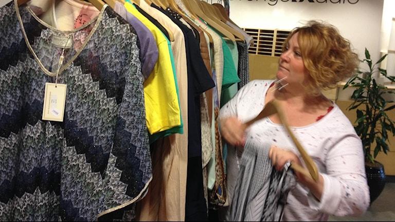 Jenny Lange med vårens mode. Foto: Anne Marchal/ Sveriges Radio
