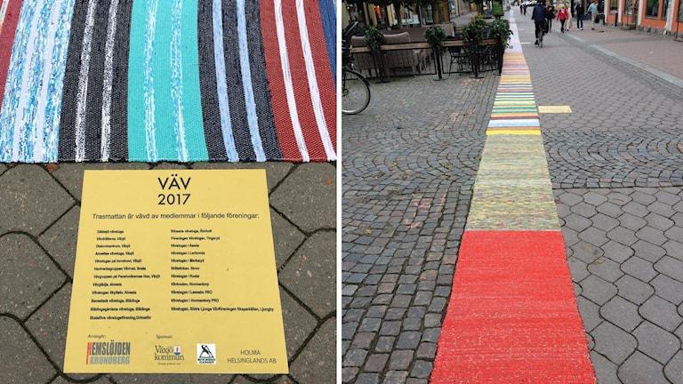 Bilder på den 328 meter långa trasmattan på Växjös gator