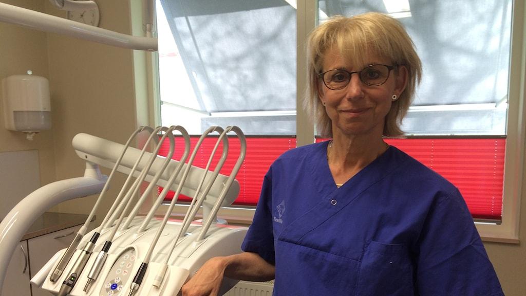 Inger Svensson, leg tandhygienist Folktandvården Norr. Foto: Petra Ekelöf/ Sverigs Radio