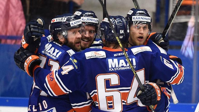 Växjö Lakers firar mål mot Skellefteå i SM-final 6.
