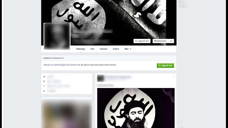 Ett exempel på hur en IS-sympatisörs Facebook-sida kan se ut.