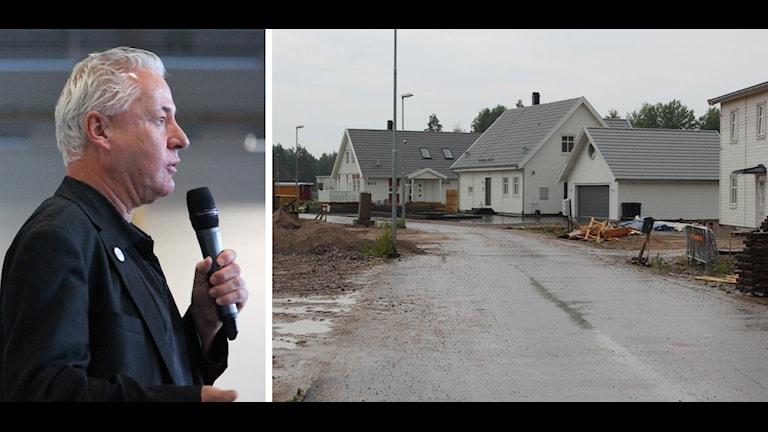 Bo Frank (M) och nya hus på området Vikaholm som tvingats ha fjärrvärme som uppvärmning. Vare sig de vill eller inte.