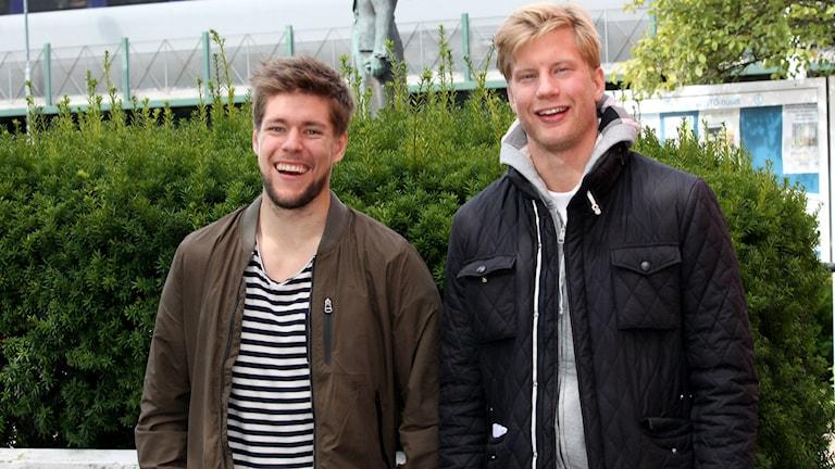 Robert Rosén och Richard Gynge är glada över återföreningen. Foto: Jonatan Bergman/Sveriges Radio.