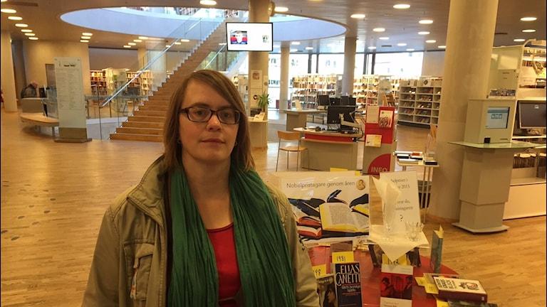 Bibliotekarie Stina Fernholm, Växjö. Foto: Peje Johansson/ Sveriges Radio