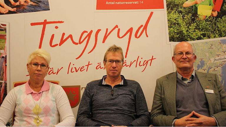 Anna Johansson (C), Mikael Jeansson (S), Patrick Ståhlgren (M). Foto: Tingsryds kommun.