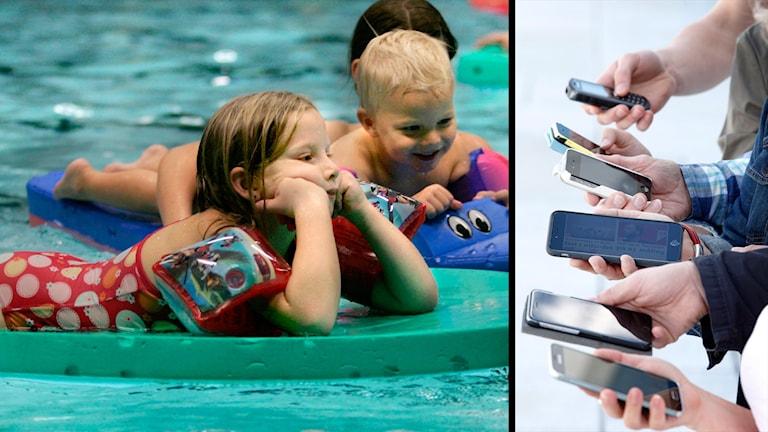Två barn och flera mobiler.