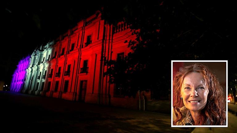 En inklippt bild av Astrid Gate framför en byggnad som lyser upp i franska färger.