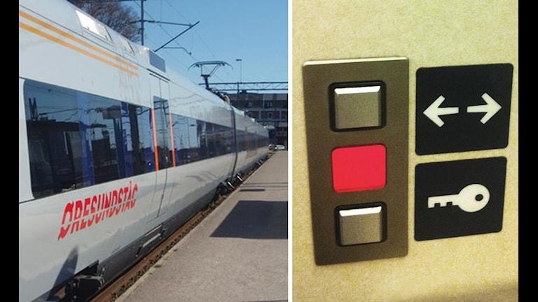 Ett öresundståg och en knapp som visar rött.