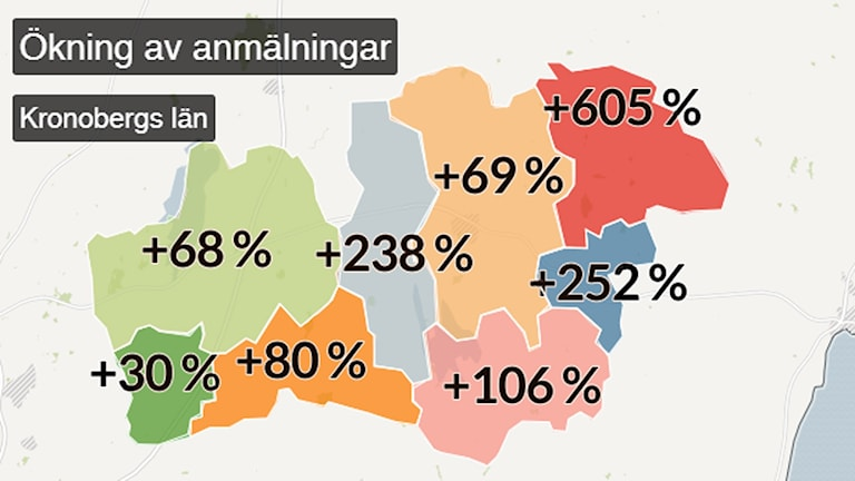 En karta visar ökningen av anmälningar.