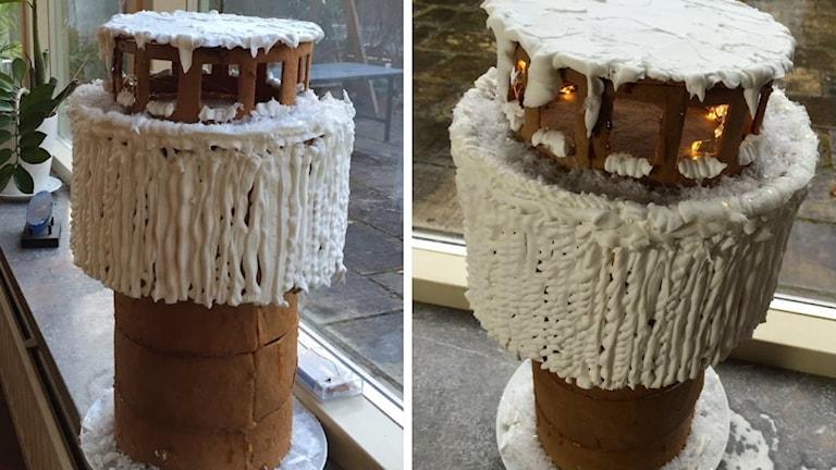 Ett pepparkakshus gjort som ett vattentorn.