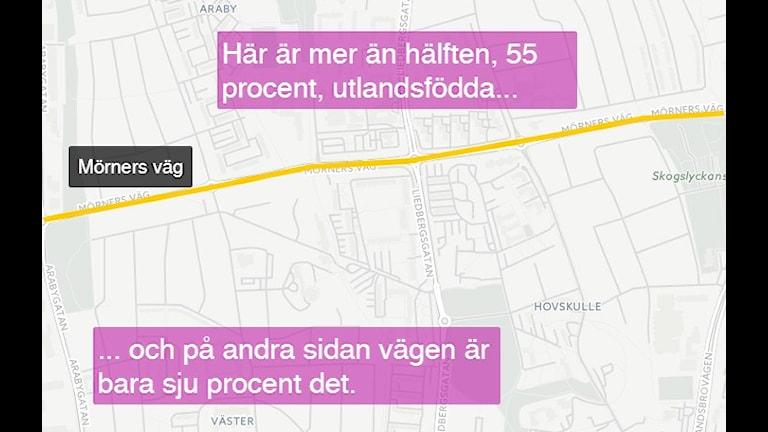 Placeringen av Väster och Araby är ungefärlig. Bild: CartoDB/Sveriges Radio
