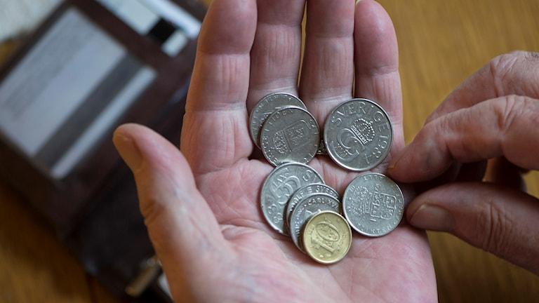 En hand med åtta svenska mynt i. I Bakgrunden en plånbok