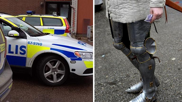 En polisbil och riddarutrustning