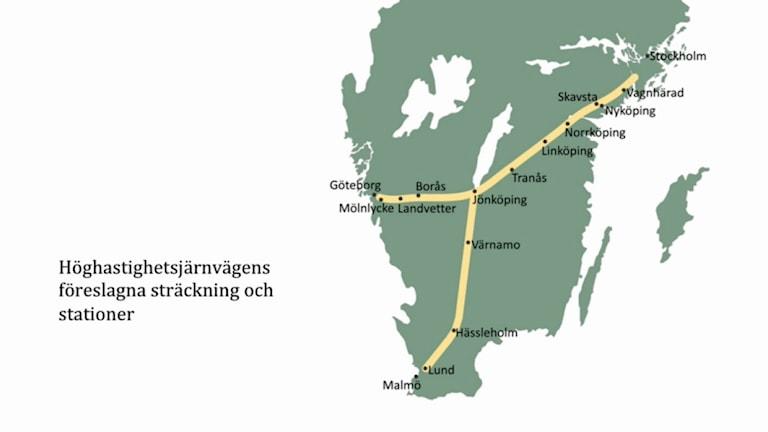 Sverigeförhandlarnas sträckning av höghastighetsbanan.