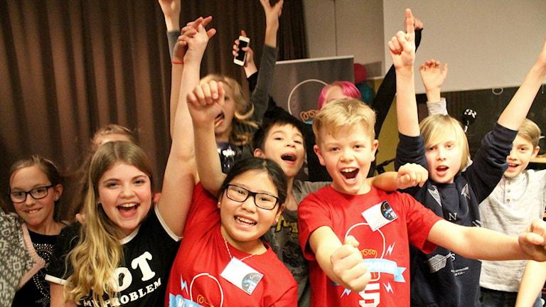 Pressbild: P4 Kronoberg: Timsfors skola har gått vidare till den lokala finalen av Vi i femman. Foto: Calle Berglund/Sveriges Radio