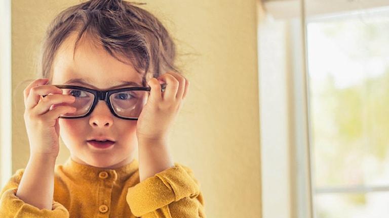 Ett barn tar på sig stora glasögon.