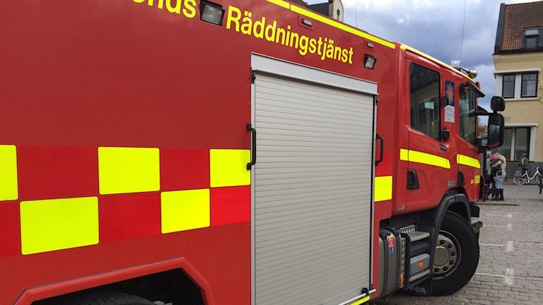 En brandbil från Värends räddningstjänst