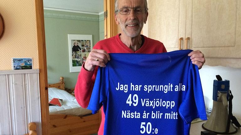 Allan Nicklasson har aldrig missat ett Växjölopp. Nästa år är det 50-års jubileum. Foto: Carina Bergqvist/Sveriges Radio