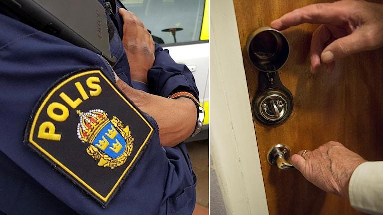 Polis och äldre person.