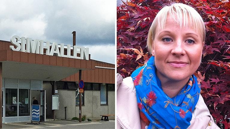 Till vänster entrén till Växjö simhall, till höger en porträttbild på Anna Tenje