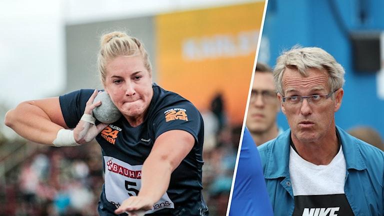 Fanny Roos stöter kula och Vésteinn Hafsteinsson