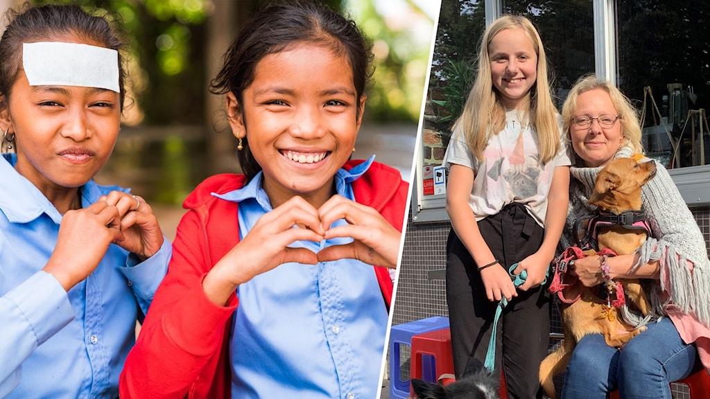 Barn i Kambodja år 2020, två personer sitter i solen med en hund i knät.