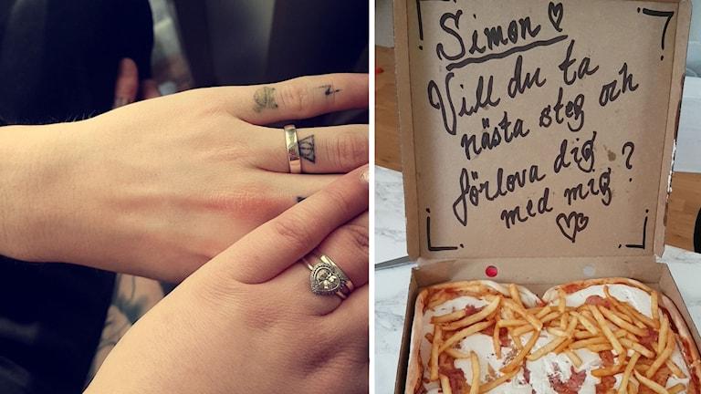 Bilden är ett montage med ringprydda händer på Dominique Pedersen Kristensen och Simon Ringman på ena bilden och pizzan med frieriet på den andra.