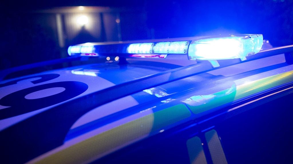 Taket på en polisbil med blåljus påslaget.