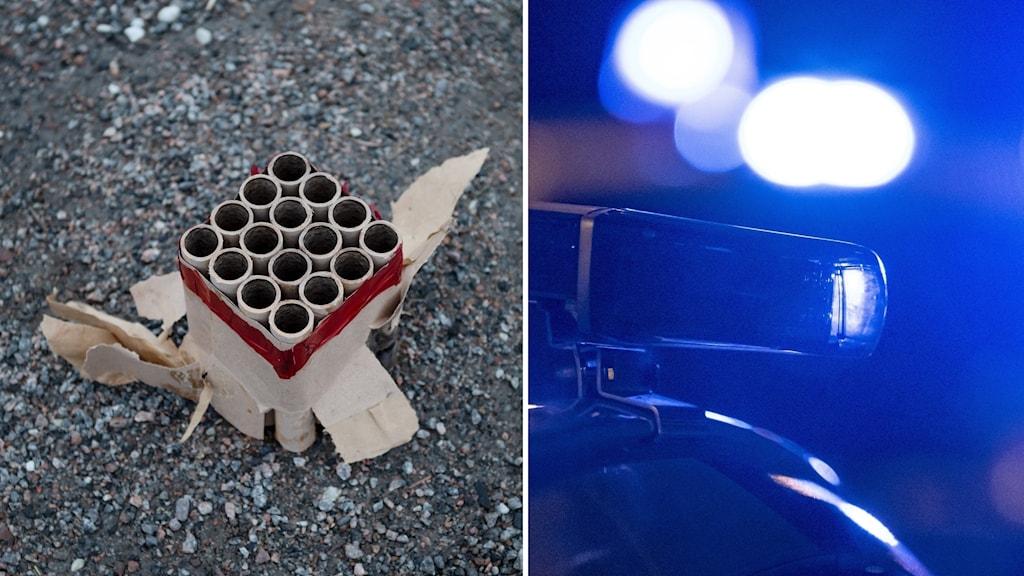 Använd fyrverkeripjäs och polisbil med blåljus.