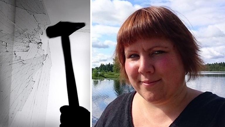 En hammare krossar en ruta samt en bild på en kvinna vid en sjö.