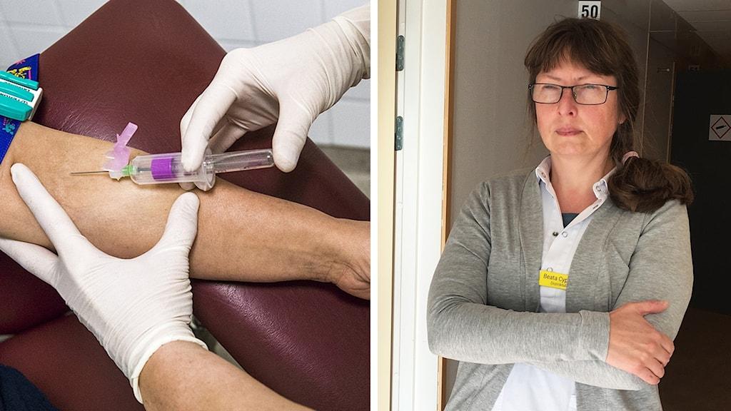 En arm får en spruta till vänster. Till höger i bild står läkaren Beata Cyprowska.