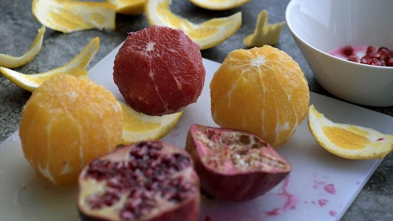 Skalade citrusfrukter
