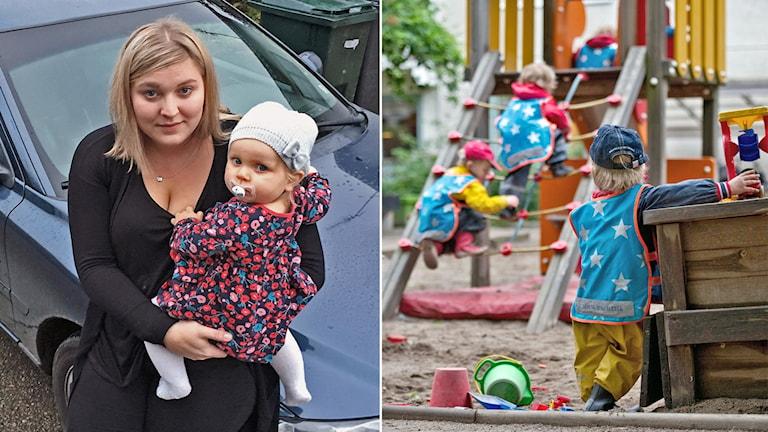 Linn Gidberg med dotter och en förskola.