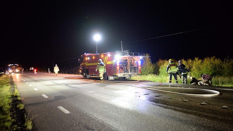 Räddningspersonal på plats på 31:an vid Norrhult efter viltolycka.