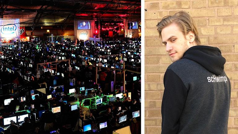 Till vänster en överblicksbild av Dreamhack, till höger ett porträtt av Simon Svensson