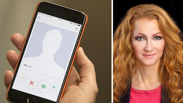 Agela Ahola och en mobiltelefon
